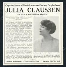 1918 Julia Claussen photo opera singing recital tour booking trade print ad