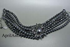 Vintage Philippe Ferrandis black faceted glasses cross pendant choker necklace