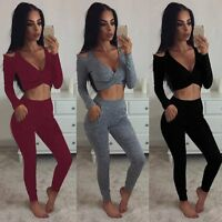 New Womens 2 Piece Skinny Jumpsuit Ladies Long Sleeve Slim Tracksuit Size 6 - 14