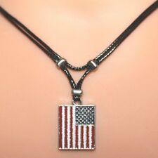Collier pendentif drapeau états-unis - USA  cordon noir - american flag necklace