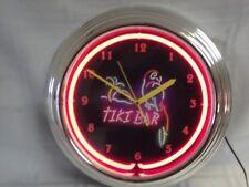 Tiki Bar Round Neon Clock.