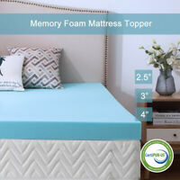 Gel Memory Foam Mattress 2.5/3/4 Inch Topper Blue Ventilated Queen King Twin Ful