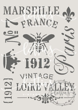 STENCIL A4 ❤ FRENCH ELEMENTS COLLECTION Furniture Fabric SHABBY CHIC 190 Mylar