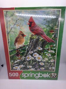 NEW Sprinbok Golden Light 500-Piece Jigsaw Puzzle Birds Cardinals Daisies Daisy
