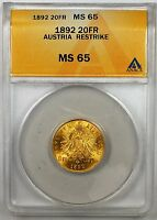 1892 Austria 20 Francs Gold Coin ANACS MS-65 Restrike