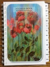 LARGE PRINT Address Book with A-Z Tabs Birthday Anniversary Calendar Poppies