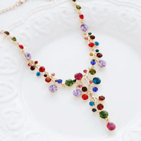 Fashion Colorful Gold Rhinestone Crystal Branch Statement Chain Necklace Pendant