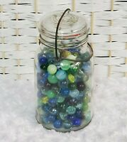 Vintage Atlas E-Z Seal Jar Clear Glass Top Marbles Quart Wire Close Collector