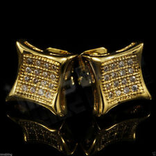 18k Gold ICED OUT Lab Diamond Stud Kite Square Hip Hop Bling Mens Earrings