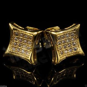 18k Gold Bling Out ICED Lab Diamond Stud Kite Square Bling Hip Hop Mens Earrings