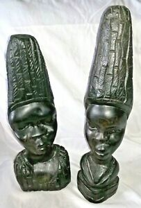 Pair of African Art Tribal Busts - Hand Carved Wood