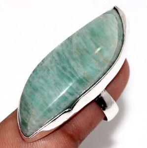 Amazonite Ethnic Handmade Gemstone Ring Jewelry US Size-7.5 JW