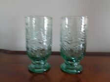 Heavy Christmas Tree Green Glass Water Goblets/Glasses, Set of 2