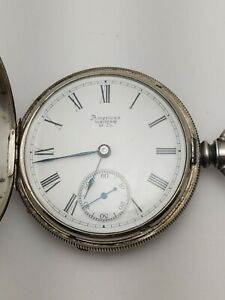 Waltham Vintage Pocket Watch in Fahys Engraved Coin Silver Case