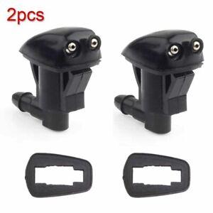 2pcs Car Auto Front Windshield Washer Wiper Spray Nozzle Black Accessories