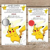 Custom Made Scratch Off Eevee Pokemon Birthday Invitations