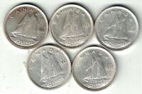 5 X CANADA 10 CENTS DIMES KING GEORGE VI SILVER COIN 1938 1939 1940 1941 1942