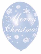"** 6 X AMSCAN LATEX MERRY CHRISTMAS BALLOONS 11"" HELIUM QUALITY NEW ** BLUE"