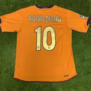 2006 2007 FC Barcelona Ronaldinho Orange Away Jersey Shirt Kit Nike Large L 10
