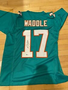 Jaylen Waddle Autographed Signed Miami Dolphins Custom Football Jersey BAS COA