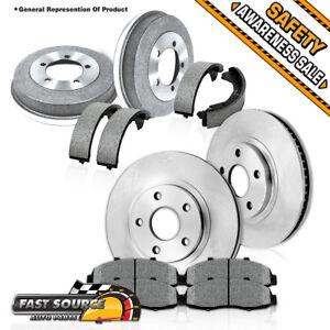 Front Brake Rotors + Ceramic Pads & Rear Brake Drums + Shoes For Silverado 1500