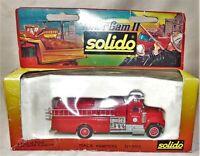 """Vtg 1986 Solido 1/80 Diecast 1955 Mack Fire Pumper Truck Brewster Mass 5.5"""" Mint"""