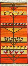Un 1970's Giallo & Arancione Folk Art RUG Uccello Design Vintage New Old Stock