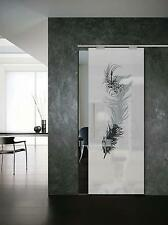 """Glass Sliding Door """"Feather"""" Glass 8 mm ( 640 x 2050 ) with Pull Bar T handles"""