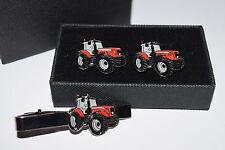 Massey Ferguson Tractor Cufflinks & Tie Clip Set GIFT Boxed Enamel Farming