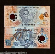 BRAZIL 10 RIELS P248b 2000 RARE *COMMEMORATIVE* POLYMER UNC LATINO CURRENCY NOTE