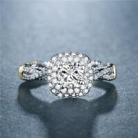 Elegant Wedding Engagement Ring 925 Silver Round Cut White Sapphire Size 6-10
