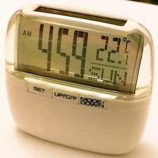 Solar Power Digital Clock with Room Temperature Thermometer Day Glass White 5605