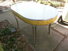 Vintage Retro Mid Century Deco Formica Yellow Vinyl Dining Kitchen Table Chrome