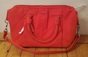 Vera Bradley Hadley Satchel Canyon Sunset Microfiber Tote Purse / Bag Orange Red
