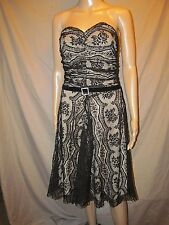 MY MICHELLE Black LACE duo layer Strapless dress Neo Madonna with Belt M MEDIUM