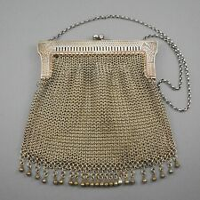 Antique Edwardian / Art Nouveau Chain Mail Mesh Purse German Silver Evening Bag