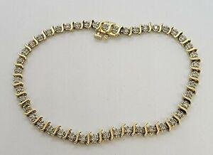 Estate 10k Yellow Gold 46 Natural Diamond Tennis Bracelet Classic S Link 6 grams