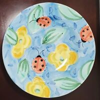"""Bella Ceramica Hand Painted """"Ladybugs And Yellow Flowers"""" Large 14"""" Ceramic Bowl"""