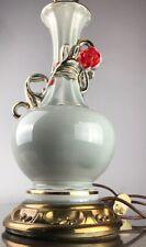 Vintage Art Deco Red Rose Gold Gild Lamp