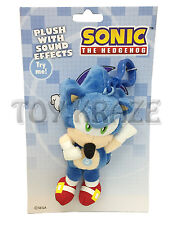 "SONIC THE HEDGEHOG PLUSH WITH SOUND EFFECTS! BLUE FLEECE DOLL KEY CHAIN 5.5"" NEW"