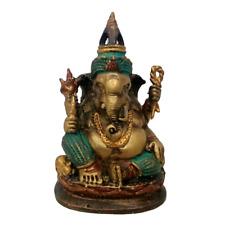 Tibetan Ganesha Brass Bronze Color Statue Ganesh Bless Seated Crowned Charm Idol
