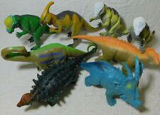 """2000 Lot of 8 Dinosaur 9"""" Tm Plastic Figures Apatosaurus Styraurus"""