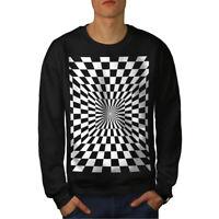 Wellcoda Square Illusion Pattern Mens Sweatshirt, Trick Casual Pullover Jumper