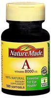 Nature Made Vitamin A 8000 I.U. Softgels 100 Soft Gels (Pack of 3)