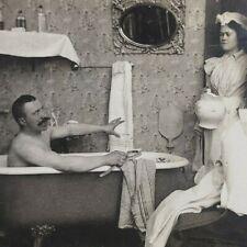 Man Bath Tub Maid Risque Victorian Woman Claw Foot Mirror Photo Stereoview E117