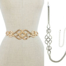 Bling Women Fashion Full Metal Wide Chain Stretch Waist Long Wedding Dress Belt