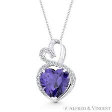 Faux Amethyst Purple CZ Crystal 22mmx13mm Double-Heart Pendant in 14k White Gold