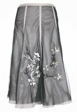Flared Panel Black and Grey Netting and  Embroidery Skirt - UK 8-10