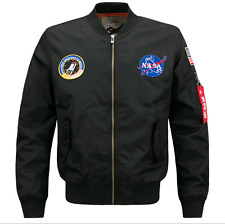 US MENS EMBROIDERED NASA JACKET MILITARY ARMY FLIGHT BOMBER JACKET