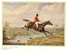 FOX HUNTING, HORSES LEAPING THE BROOK, COLOR PRINT HUNT, BY HENRY ALKEN, HOUNDS